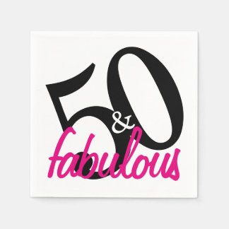 50 and Fabulous Birthday Party Paper Napkins Paper Napkin