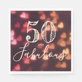 50 And Fabulous. Birthday. Red Hearts Bokeh. Disposable Serviette