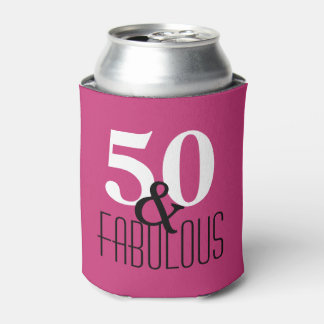 50 and Fabulous Black and White Birthday Party Can Cooler