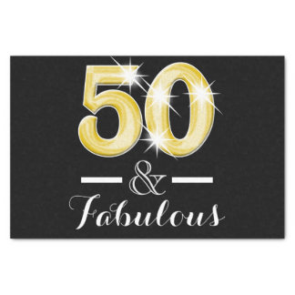 50 and fabulous black gold birthday tissue paper