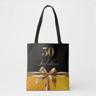 50 and Fabulous Black Gold Bow sparkle Leather Tote Bag