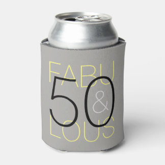 50 and Fabulous Black Grey & Yellow Can Cooler