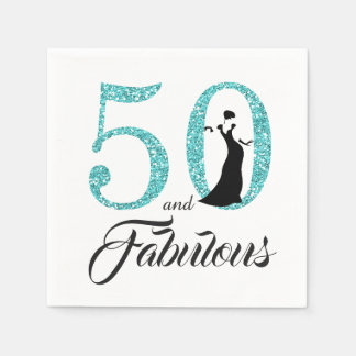 50 and Fabulous Blue Glitter Birthday Party Paper Napkin