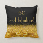 50 and fabulous Chic golden bow with sparkle black Cushion