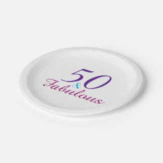 50 and Fabulous Colorful Birthday Party 7 Inch Paper Plate