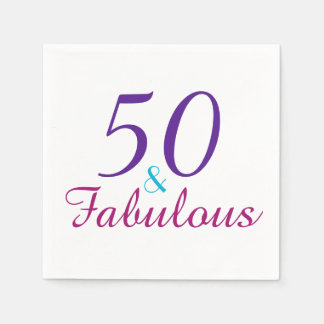 50 and Fabulous Colorful Birthday Party Disposable Serviettes