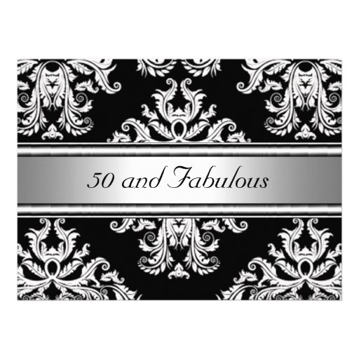 50 and Fabulous Damask Birthday Party Personalized Announcement