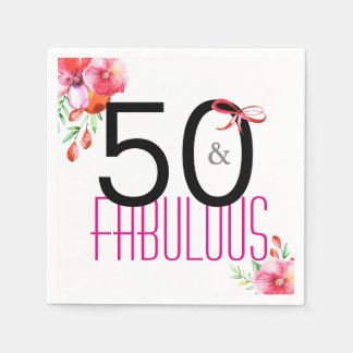 50 and Fabulous Elegant 50th Birthday Party Paper Napkin