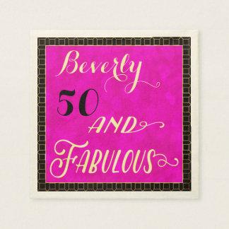 50 and Fabulous Elegant Party Napkins Paper Napkin