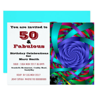 50 and fabulous fiftieth birthday invitation