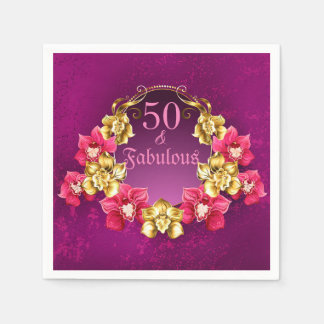 50 And Fabulous Gold And Pink Orchids Disposable Serviette