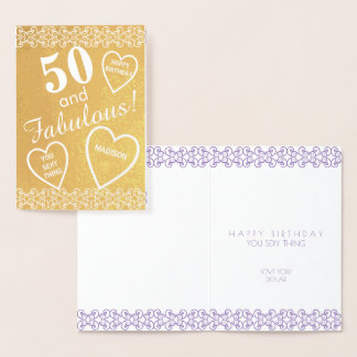50 And Fabulous Gold Birthday Heart Personalised Foil Card