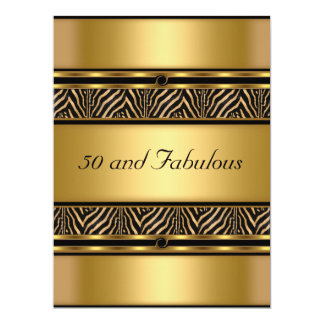 50 and Fabulous Gold  Birthday Party Invitation