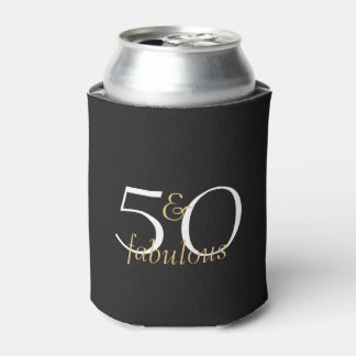 50 and Fabulous Gold Black White Birthday Gift Can Cooler