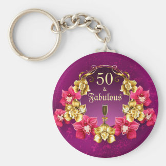50 And Fabulous Gold Pink Orchids and Champagne Key Ring