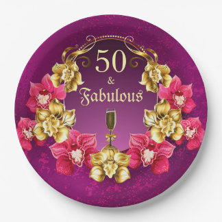 50 And Fabulous Gold Pink Orchids and Champagne Paper Plate