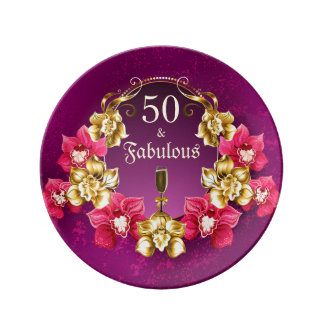 50 And Fabulous Gold Pink Orchids and Champagne Plate