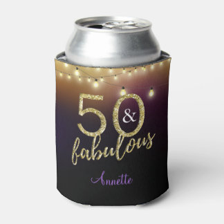 50 and Fabulous Gold Stars Purple Birthday Party Can Cooler