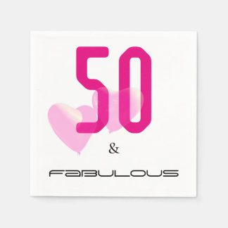 50 and fabulous modern black, pink birthday napkin paper napkin