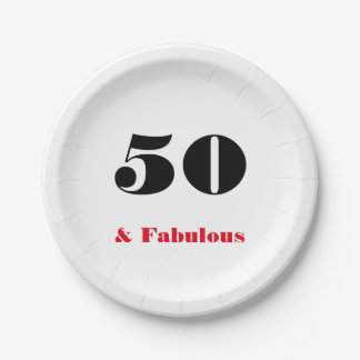 50 and Fabulous Old Person Paper Plate