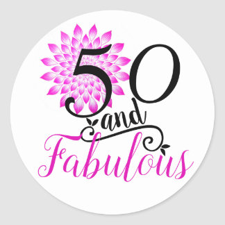 50 and Fabulous Pink 50th Birthday Classic Round Sticker