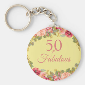 50 And Fabulous Pink Roses With Touches Of Gold Key Ring