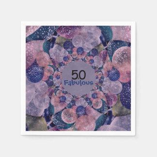 50 and Fabulous Purple Balloons Birthday Disposable Napkin