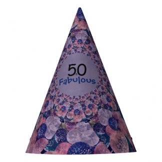 50 and Fabulous Purple Balloons Birthday Party Hat