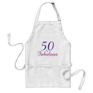 50 and Fabulous Purple Pink Blue Birthday Party Standard Apron