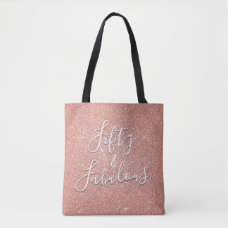 50 and Fabulous Rose Gold Blush Pink Glitter Tote Bag