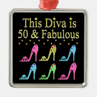 50 AND FABULOUS SHOE QUEEN Silver-Colored SQUARE DECORATION