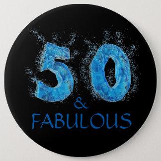 50 and Fabulous Swim Pool Swimming 50th Birthday 6 Cm Round Badge
