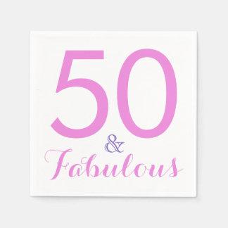 50 and Fabulous Trendy Elegant Birthday Party Pink Disposable Napkin