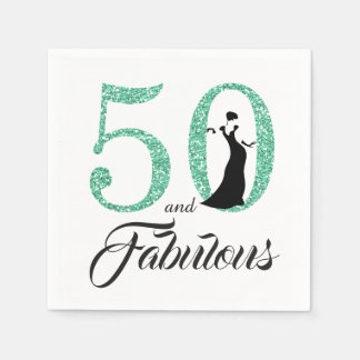 50 and Fabulous Turquoise Glitter Birthday Party Disposable Serviette