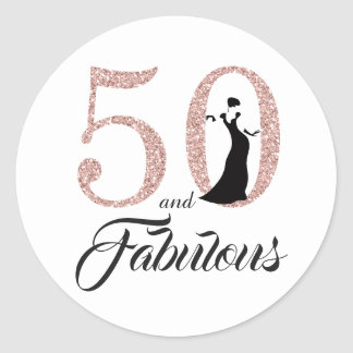 50 and Fabulous   Typography 50th Birthday Classic Round Sticker