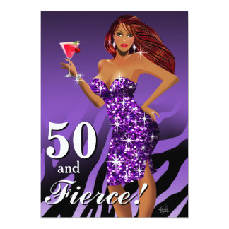 50 and Fierce Glam Sparkly Zebra Bombshell purple Card