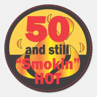50 and Smokin Hot Round Sticker