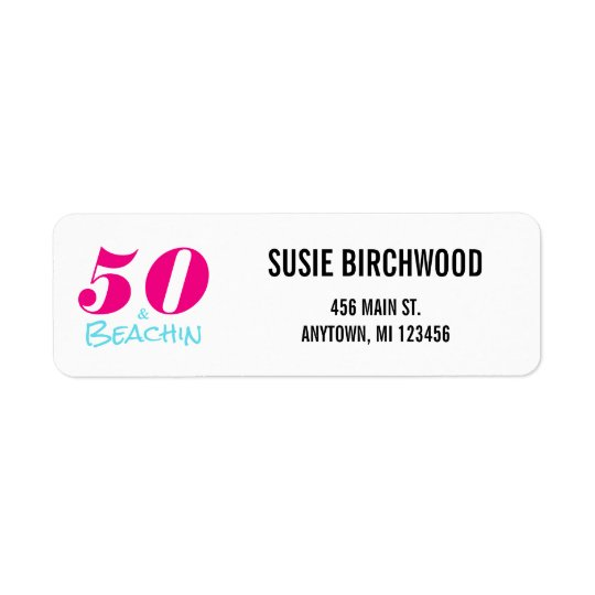 50 & Beachin 50th Birthday Return Address Label