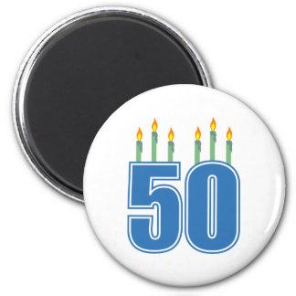50 Birthday Candles (Blue / Green) 6 Cm Round Magnet