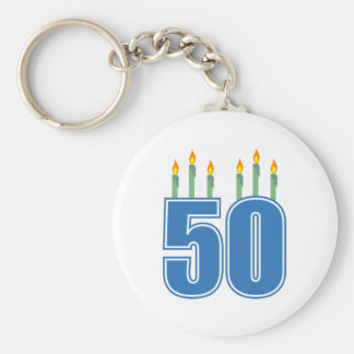 50 Birthday Candles (Blue / Green) Basic Round Button Key Ring