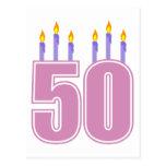 50 Birthday Candles (Pink / Purple)