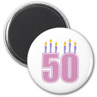 50 Birthday Candles (Pink / Purple) 6 Cm Round Magnet