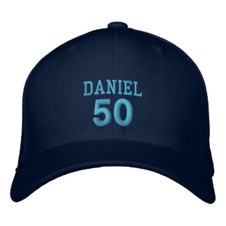 50 Birthday Custom Name BLUE Embroidery V01C6 Embroidered Hat