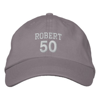 50 Birthday Custom Name WHITE Embroidery V01C Embroidered Hats