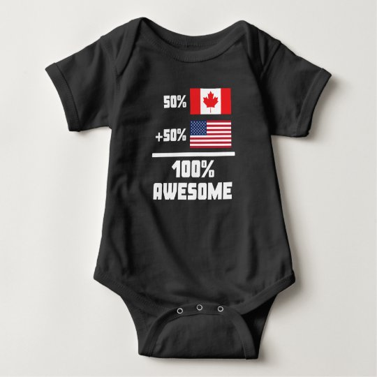 50% Canadian 50% American 100% Awesome Baby Bodysuit