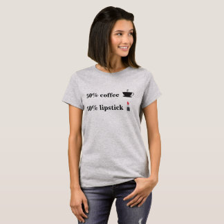 50% coffee and 50% lipstick emoji shirt
