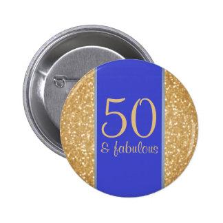 50 & Fabulous 50th Birthday 6 Cm Round Badge