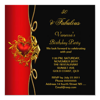 50 & Fabulous 50th Birthday Red Gold Hearts 13 Cm X 13 Cm Square Invitation Card