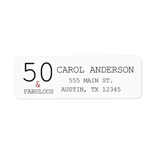 50 & Fabulous 50th Birthday Return Adress Label