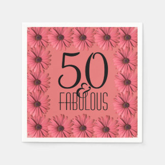 50 & Fabulous Birthday Party | Floral Pink Daisy Paper Napkins